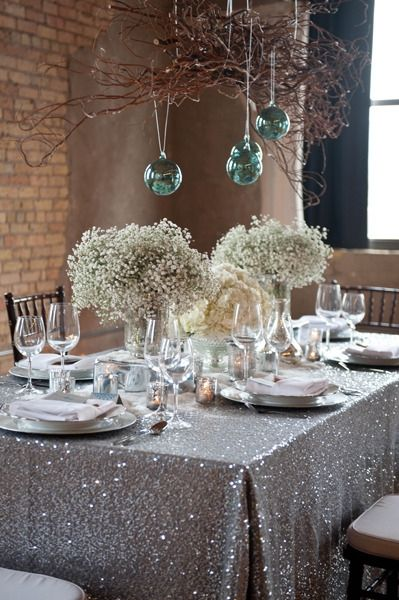 11.11 Panic buying!! 90'' by 132'' Rectangle Embroidery Design Elegant Gunmetal Sequin Table Cloth For Wedding Decoration(China (Mainland))