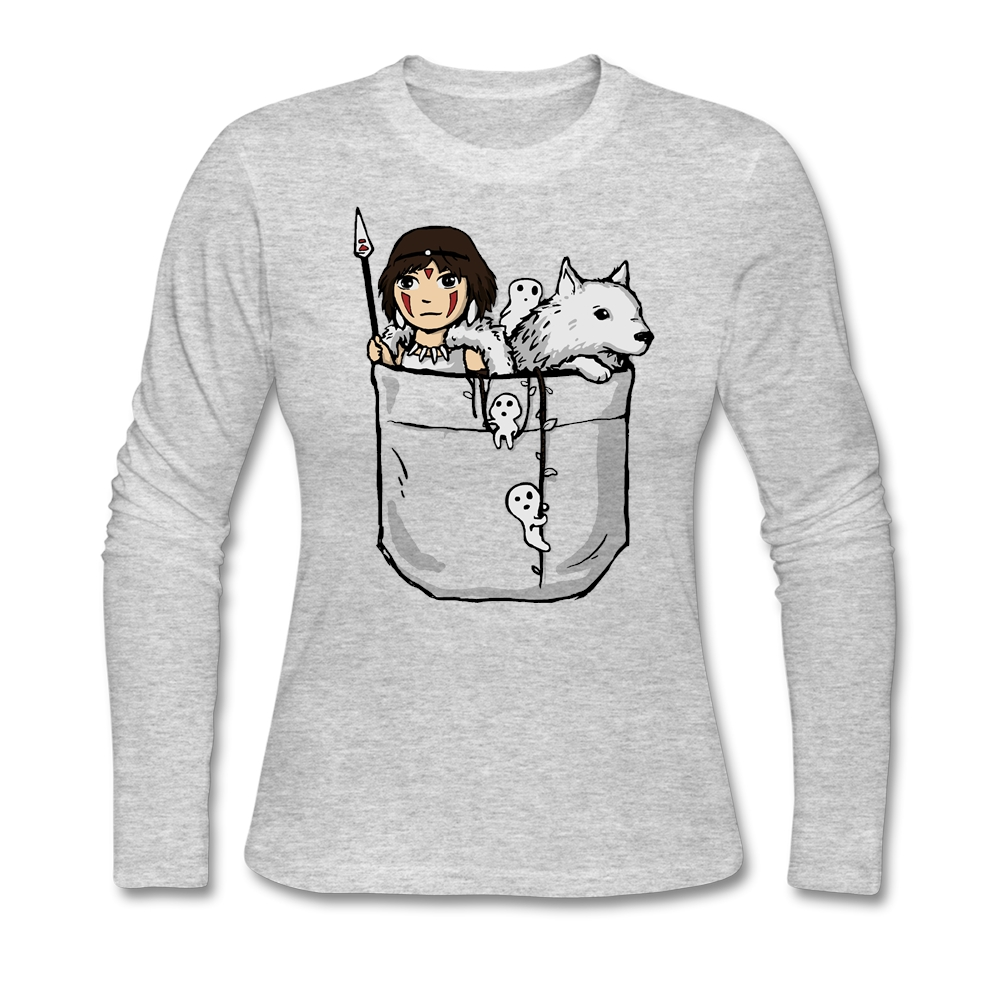 Big Size 100% Cotton Long Sleeve Women Custom T Shirts Streetwear Pocket Princess Tshirts Women Christmas Gift(China (Mainland))