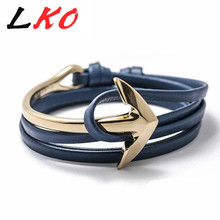 Buy Fast ship New Arrival Fashion Jewelry PU Leather Bracelet Men Half Bend Anchor Bracelet tom hope for $1.48 in AliExpress store