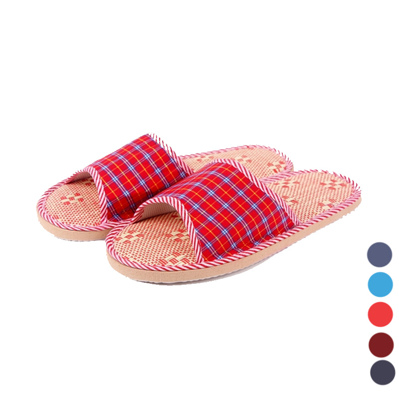 2015 Hot Sale Tartan Design Lovers Sandals Summer Flat Cany Mat Linen Slippers Indoor Shoes Slippers Six Colors For Choose(China (Mainland))