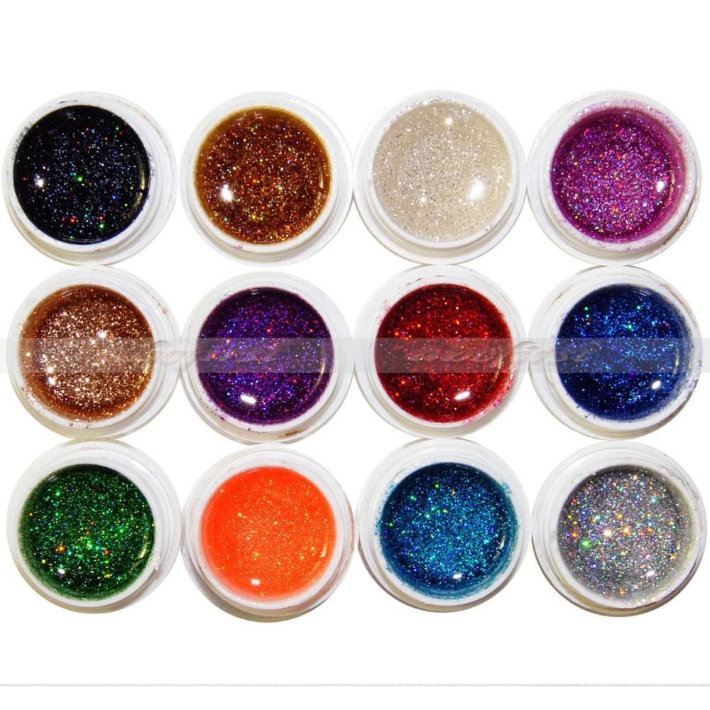 UV Gel Nail Polish Nail Art 12 Pot Mix Color Glitter UV Gel Builder Tips DIY Design Decoration Set 2016 Bling Gel Nail Polish(China (Mainland))
