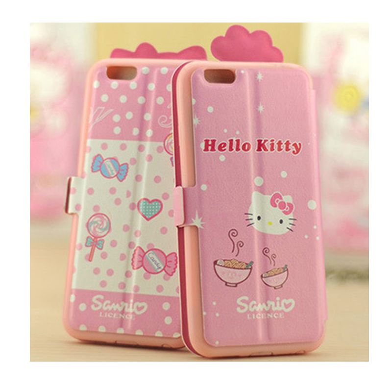 Case For iPhone 6s plus Built-in Card Slot Fashion Stand Flip Leather Hello Kitty for lady girl phone case(China (Mainland))