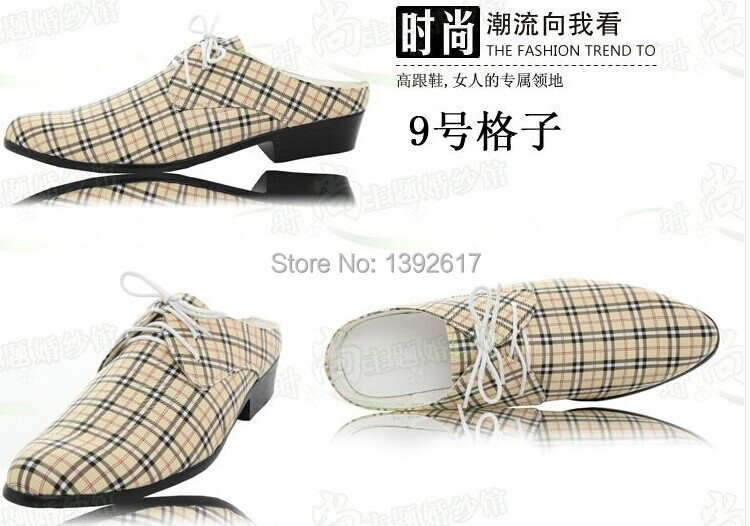 Free ship mens tuxedo shoes check pattern shoes/wedding/ stage performance shoes/photo-shooting shoes(China (Mainland))