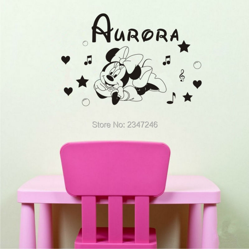 Personalized Girls Name Cartoon Mouse Music Notes Heart Star Bubble Wall Decal