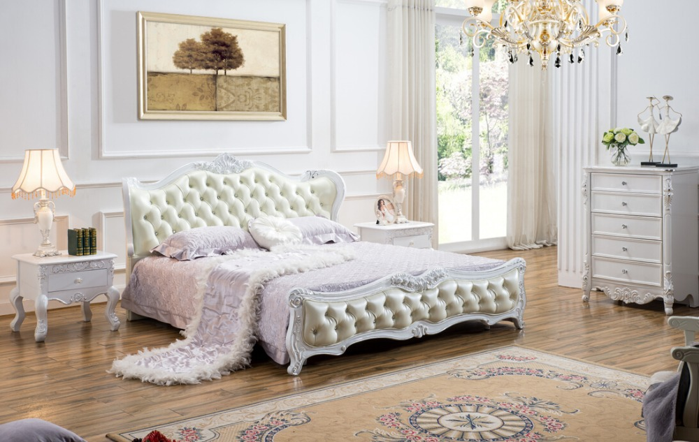 end solid wood and leather bed bedroom furniture Baroque Bedroom Set ...