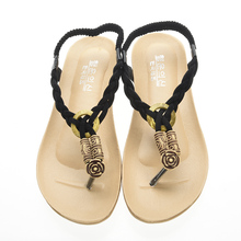 Free shipping 2016 Flat Sandals Ankle T-strap Fashion Trend Sandals Bohemia National Flat Heel Beaded Female shoes WS047  (China (Mainland))