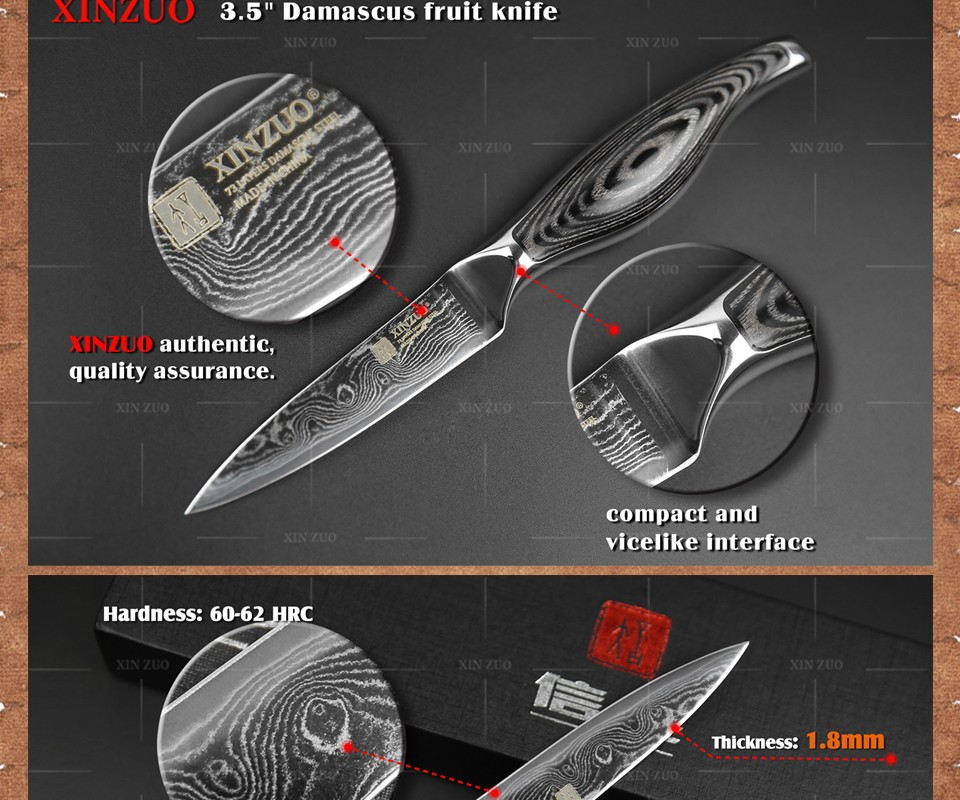 "Buy 3.5"" inch paring knife Japanese VG10 & 73 layers Damascus kitchen knives sharp fruit utility knife  wood handle FREE SHIPPING cheap"