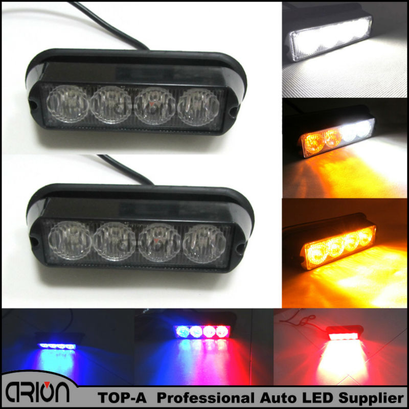 2Pcs/Lot Super Bright 4 LED Waterproof Car Truck Emergency Strobe Flash Light Red Blue Amber White Color 18 Flash Modes(China (Mainland))