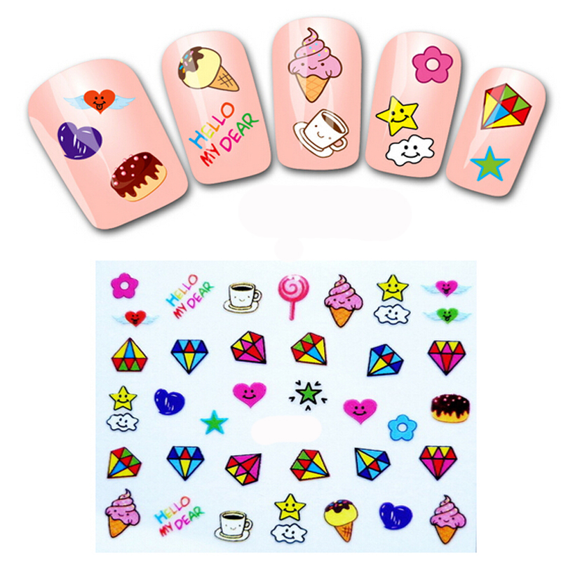 10pcs Nail Art Water Transfers Stickers Nail Decals Stickers Water Decal Cake Fruit Food Ice Cream Gift(China (Mainland))