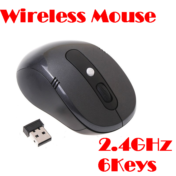 50% shipping fee 10 pieces RF 2.4GHz Portable Black Optical Wireless Mouse USB Receiver 6 Keys 800/1600dpi(China (Mainland))
