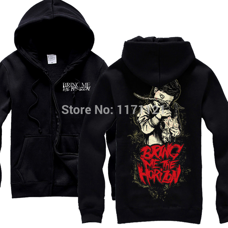 Free shipping  Bring Me The Horizon Zombie Brain new black 100% cotton  hoodie