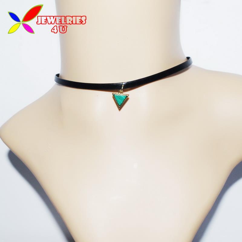 2016 Hot PU Leather Choker Fashion Emerald Faux Stone Triangle Oval Geometric Women's False Necklaces Pendants collar Bijoux(China (Mainland))