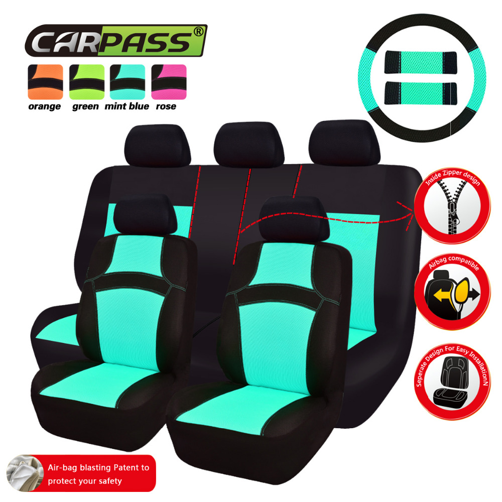 Car-pass RAINBOW Cute Pink Universal Car Seat Covers 40/60 7 Color Rose/Red/Orange/Green Seat Covers With Steering Wheel Cover(China (Mainland))