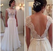 Neue Ankunft 2015 Maß weißes Kleid für Hochzeit Atemberaubende Vestidos De Noiva A Line Flügelärmeln Spitze backess Hochzeit Kleid(China (Mainland))