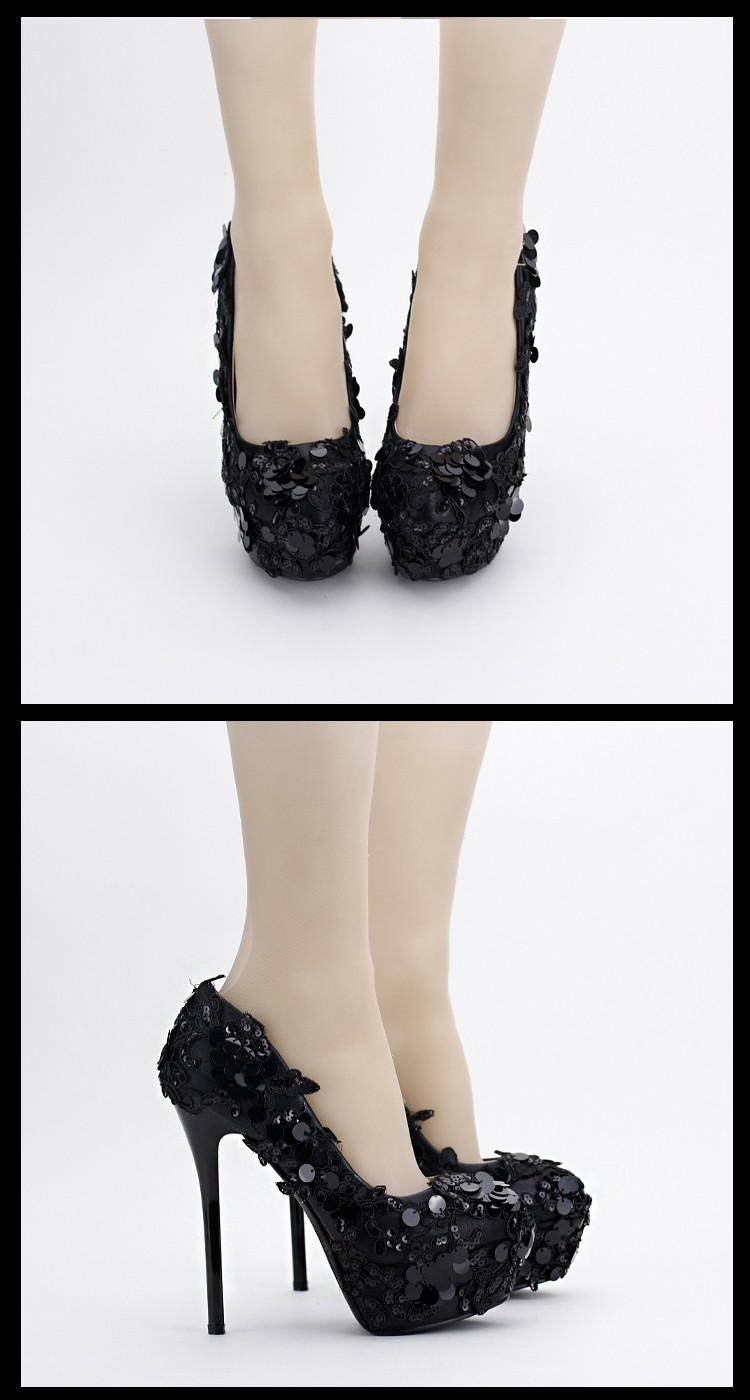ซื้อ สีดำผู้หญิงปั๊มพรรครองเท้าแต่งงานg litterส้นสูงเซ็กซี่รองเท้า