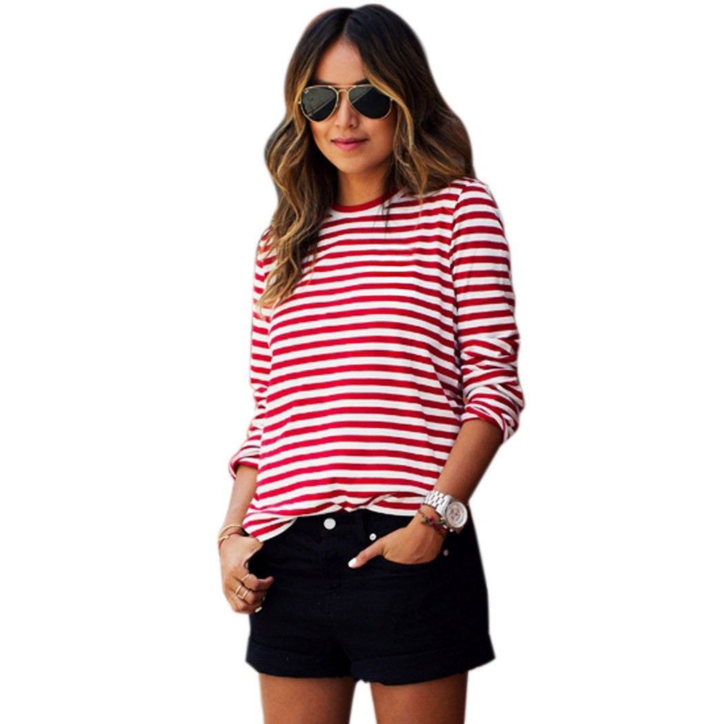 2016 spring summer long sleeve red striped tee shirts for Plus size summer shirts