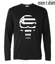 Men 2016 autumn hipster streetwear t-shirt Sniper Chris Kyle funny Punisher Skull Print novelty long sleeve brand clothing homme(China (Mainland))