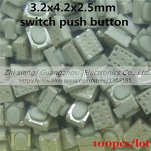 100 шт./лот 3.2 * 4.2 * 2.5 mmSMD микро-переключатель пульт дистанционного управления сенсорный выключатель 2 x 4 x 3.5 мм выключатель кнопка