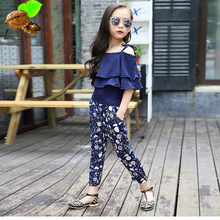 Fashion Female clothing set 2017 summer child spaghetti strap + Pants 2 pcs sets girls top ankle length trousers twinset (China (Mainland))