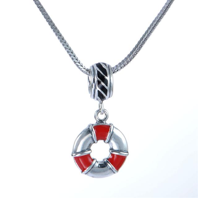 Новый горячая распродажа подходит браслеты ожерелья стерлингового серебра 925 бусины спасательный круг форма подвеска подвески ювелирные изделия DIY бусины оптовая продажа