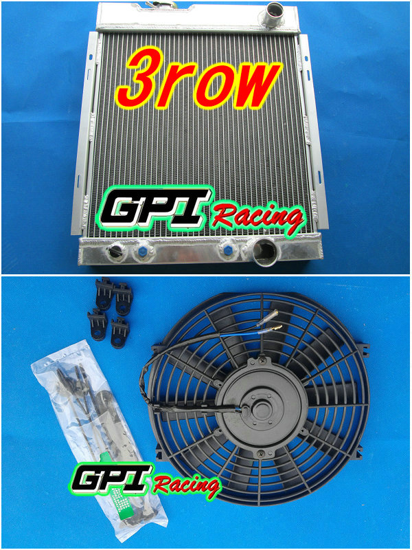 3 ROW Aluminum Radiator for Ford MUSTANG V8 289 302 WINDSOR 1964 1965 1966 + Fan(China (Mainland))