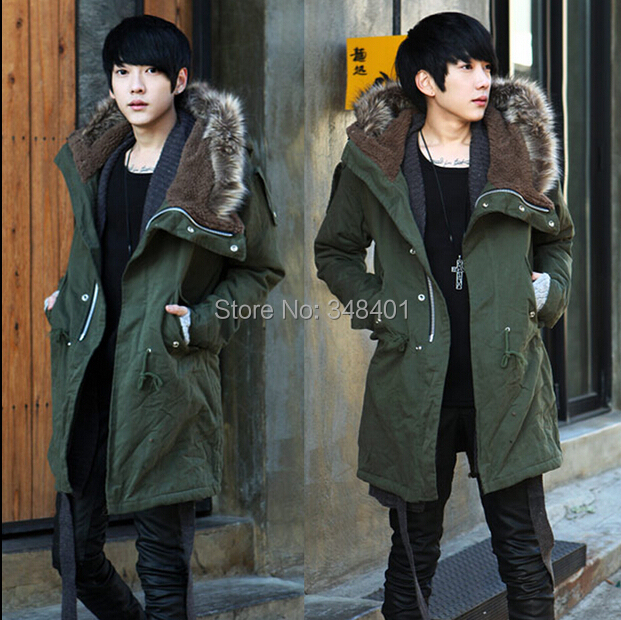 Men's cotton coat fur collar Korean Slim Hooded uniformed army green long trench manteau homme jacket - Juan & S store