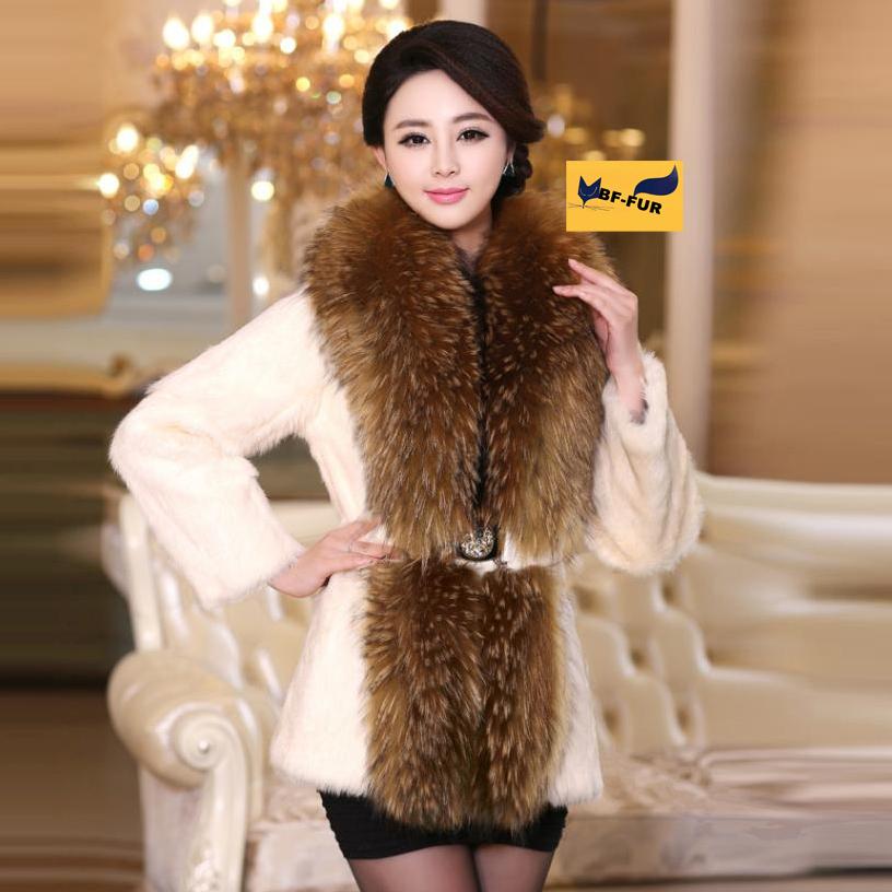 2014 теплые зимние женские подлинного натурального цельного меха кролика пальто с реальными крупный цельный мех енота воротник куртки Верхняя одежда от S-6XL