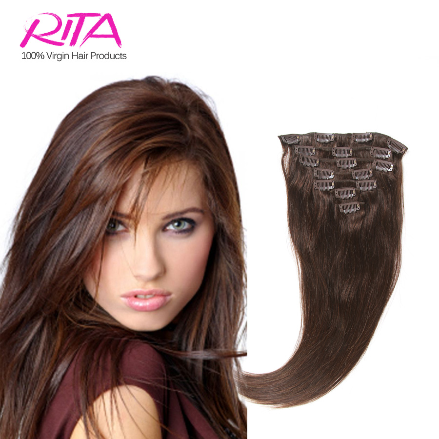 Гаджет  Color  4 # Clip in Remy Hair extension Brazilian hair  in stock 70g 7pieces  15 18 20inch 28 color options None Волосы и аксессуары