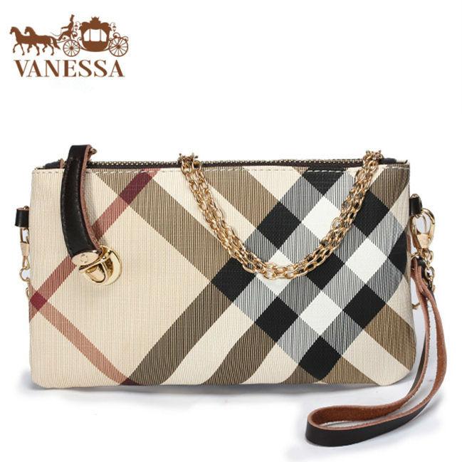Entrega rápida! inglaterra estilo moda embrague desigual mujeres bolso a cuadros cuero genuino manijas wallet Handbag Shoulder Bags(China (Mainland))