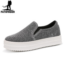 2016 Spring Summer Style women platform shoes woman flats loafers canvas espadrilles slip on Ladies Creepers thick sole ev