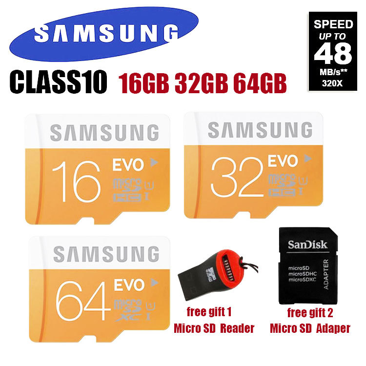 100% Genuine Samsung EVO micro SD SDHC TF Class 10 C10 microsd 64gb 32gb 16gb up to 48mb/s Support Official Verification(China (Mainland))