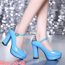 Buy Women High Heel Shoes Platform Pumps Woman Thick High Heels Party Wedding Shoes Ladies Kitten Heels Plus Size 33-40 41 42 43 for $28.78 in AliExpress store
