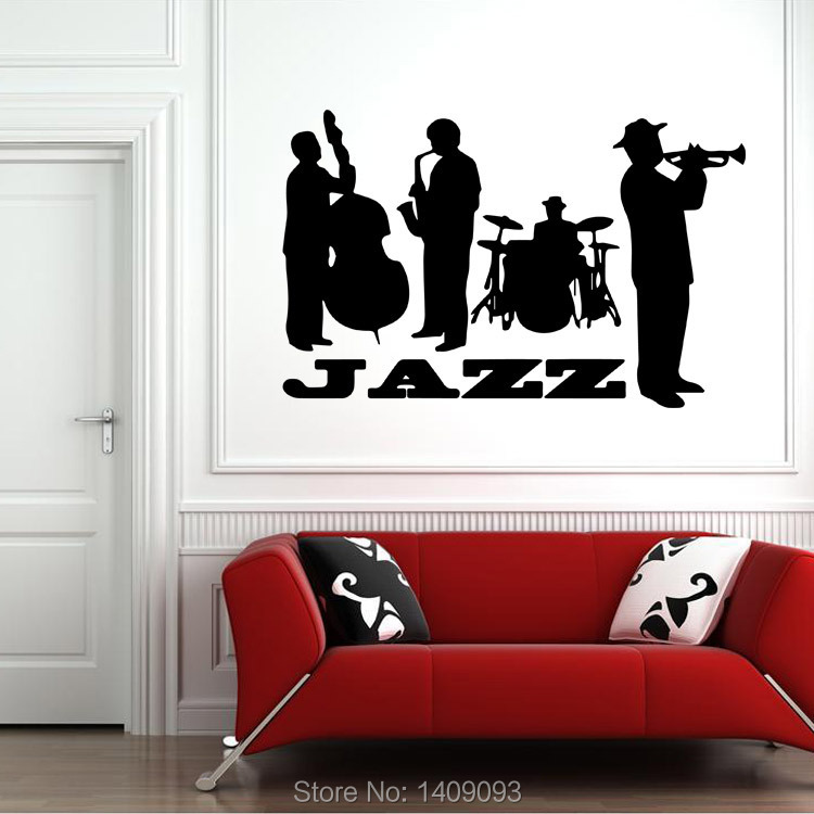 top hot vinyl wall stickers jazz band black color wall