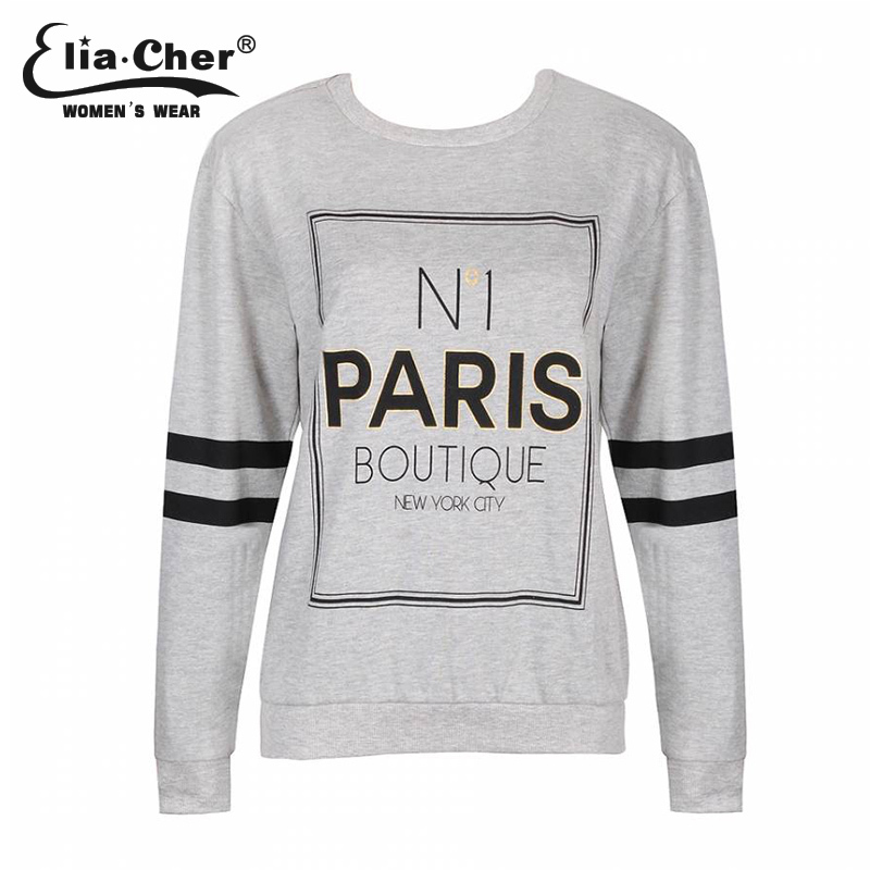 2015 woman clouthing long sleeve O-neck casual T shirt gray letter t shirts black and white strip Comfortable t-shirt(China (Mainland))