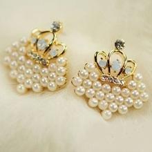 Discount Gold Crown Rhinestone Earrings Cheapest Double Side Pearl Stud Earrings Big Pearl Earrings For Women Wholesale(China (Mainland))