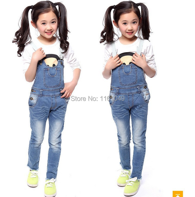 new spring 2015 summer fashion children kids for girls denim overalls denim jumpsuit pants jeans trousers retail free shipping(China (Mainland))
