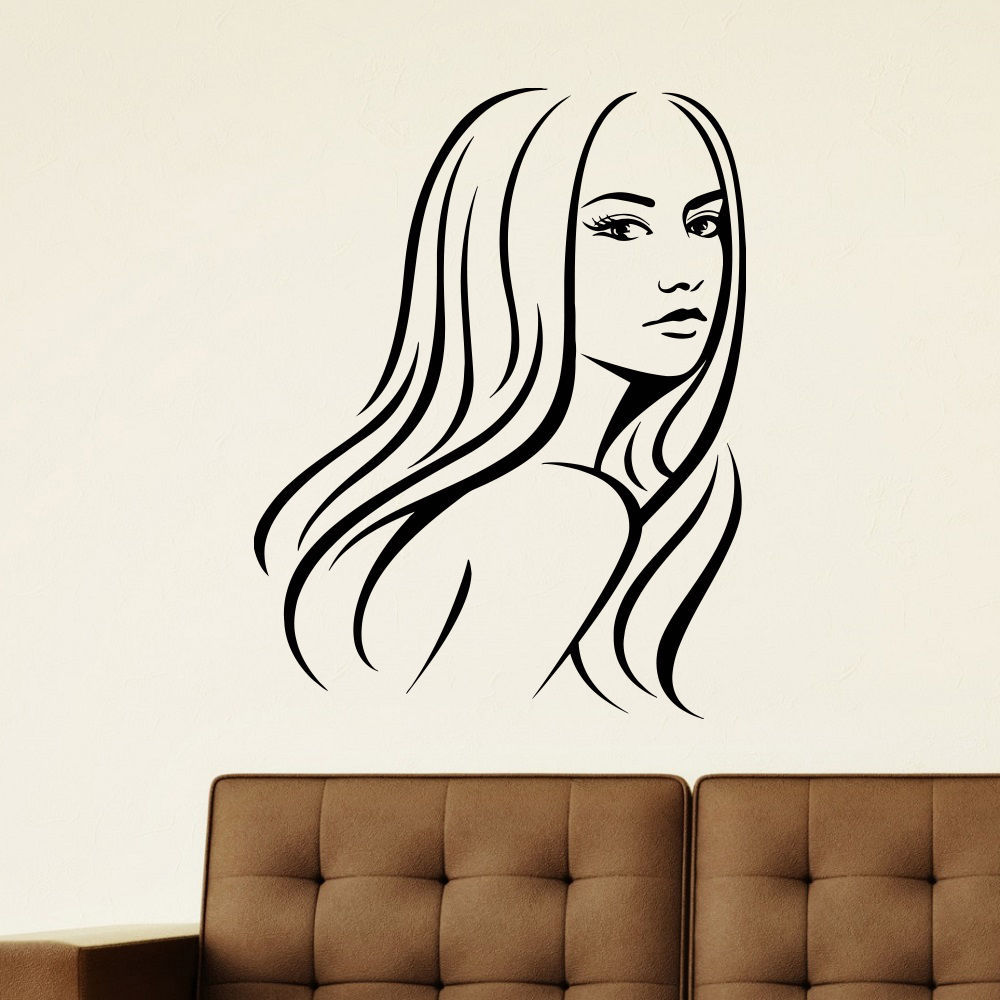 Women Salon Sticker Decal Haircut Barber Shop Posters Wall Art Decals ...