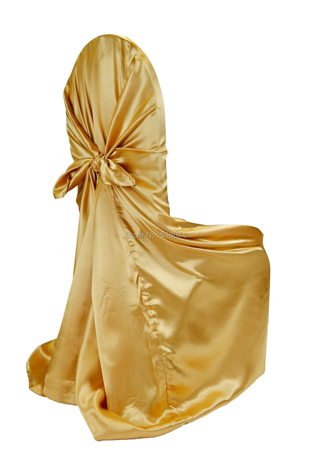 Hot sale 1pcs Gold Self Tie Satin Chair Cover Wedding Banquet party Decoration Product Supplies110cm*140cm, Free shipping(China (Mainland))