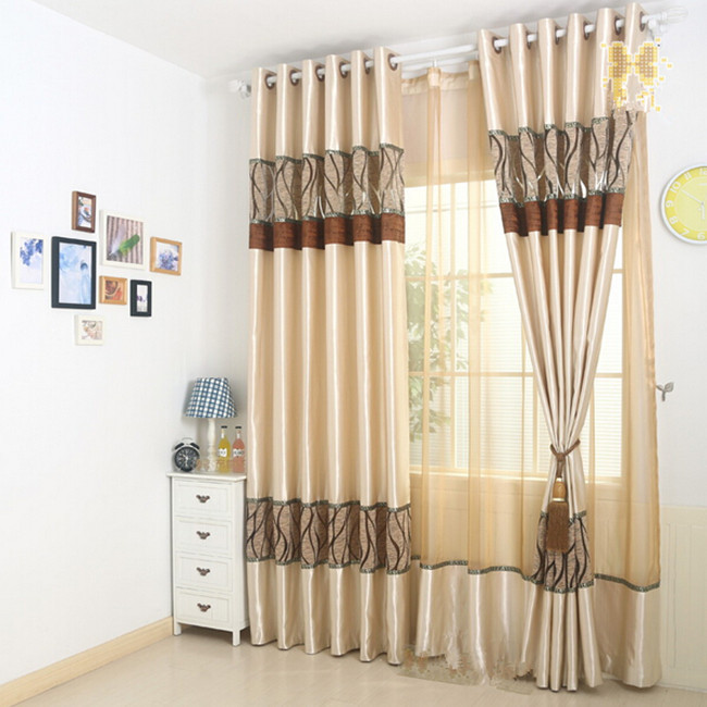 Noble refined high-grade luster shading curtains Cut flower yarn sitting room European style embroidered curtains champagne