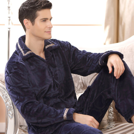 2016 New Winter Spring Keep Warm Thick Coral Fleece Men Pajamas Set of Sleep Tops & Shorts Flannel Sleepwear Thermal Nightgown(China (Mainland))