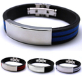 Splendid Mens Stainless Steel Bracelet Rubber Black Multi colour Fashion jewelry Silver Sport Bangle 52GC