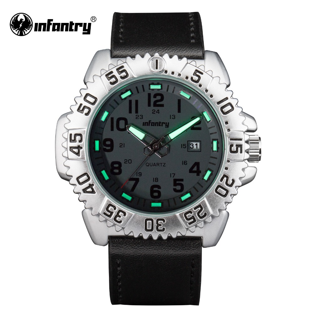 INFANTRY Mens Wristwatches Brand Sports Glow in Dark Watches Silicone Russisn Style PU Leather Militray Male Relogio Masculino(Hong Kong)