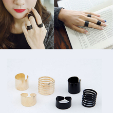 3 pcs fashion Black matte opening ring three ring high quality Midi Mid Finger Knuckle Ring Set for Women Girls Jewelry