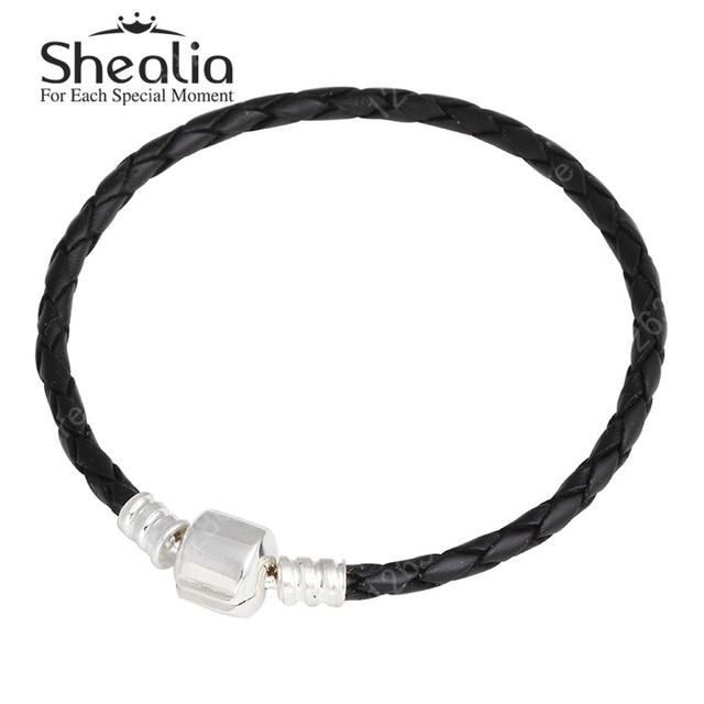 Черный натуральная кожа фирменное плетеный браслеты для женщин 100% 925 серебристый клип Fit европейских подвески бусины DIY