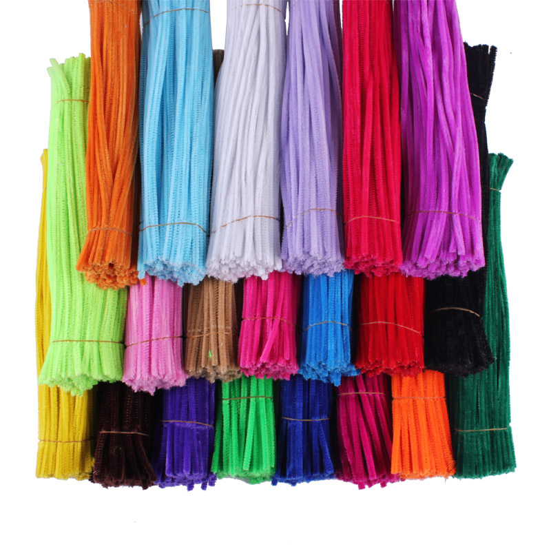 200pcs Chenille Stems Pipe Cleaners, DIY Handicraft Materials Creative shilly-stick colorful soft Velvet strip Gifts(China (Mainland))