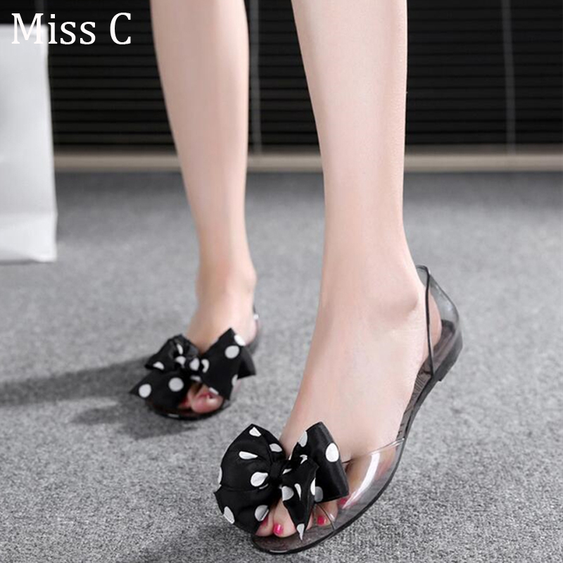 2016 Summer Polka Dot Bow Women Sandals Flat Peep Toe Ladies Jelly Rubber Beach Shoes Casual Slip On Big Size 35-40 WSS73(China (Mainland))