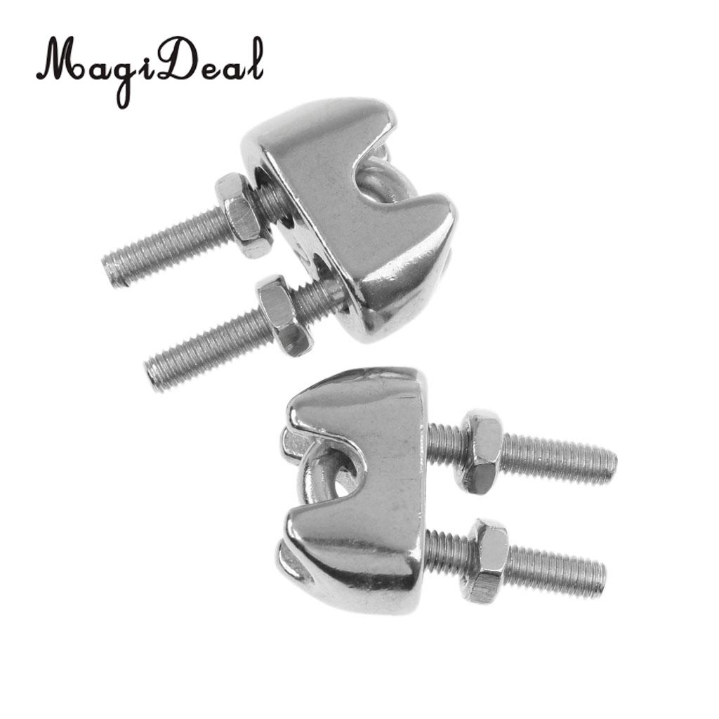 MagiDeal 2 Pieces M2 1/16 Inch Stainless Steel Wire Rope Cable Clip ...