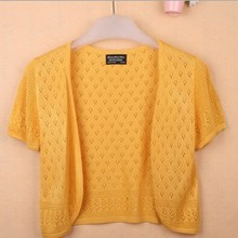 12 Colors Summer Women V-Neck Knitted Casual Loose Short Sleeve Sweaters Cardigans Lady Knitting Open Stitch Outwear(China (Mainland))