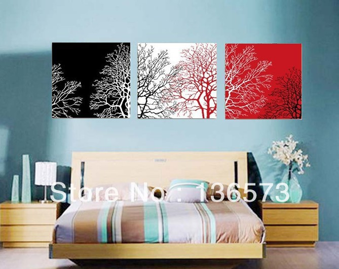 store product Online Wall Art Sets Of  Piece Modern Abstract Still Life Black White Red Tree Canvas