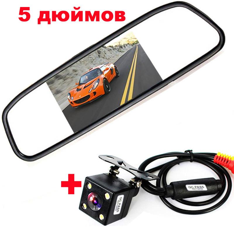 "HD CCD 170 Lens Angle 4LED Car Rearview Rear view Parking Camera+5"" TFT LCD Mirror Monitor Reversing Backup Camera Auto Parking(China (Mainland))"
